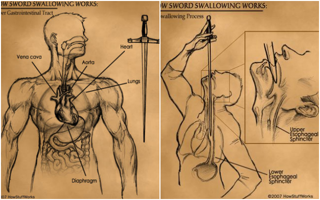 Lật tẩy bí ẩn đằng sau màn biểu diễn ảo thuật nuốt kiếm khiến ai xem cũng phải thót tim - Ảnh 2.
