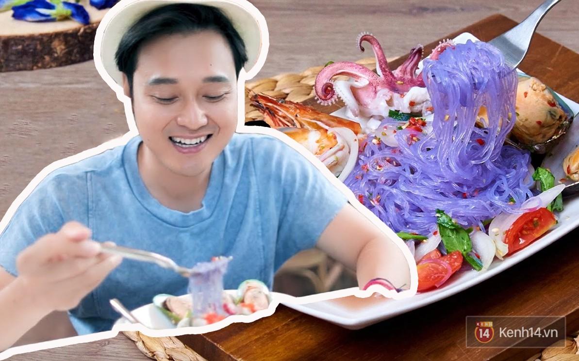 Cận cảnh món miến trộn màu tím của Thái khiến Quang Vinh vô cùng thích thú - Ảnh 5.