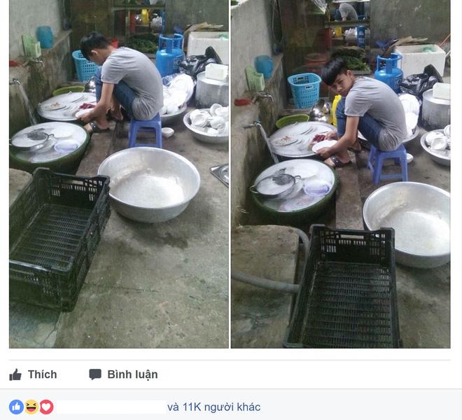 Đi ăn cỗ, chàng trai một mình rửa 6 mâm bát đĩa vì chị gái đau tay - Ảnh 1.