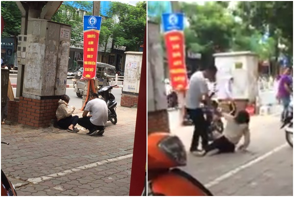 Hà Nội: Xôn xao clip cô gái bị chàng trai đánh gục trên phố Thái Hà nghi do ghen tuông - Ảnh 1.