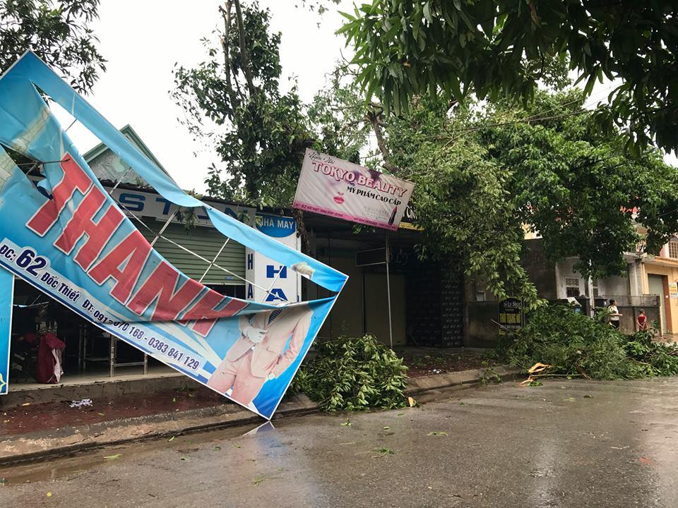 Chùm ảnh: Đường phố TP Vinh - Nghệ An tan hoang sau bão số 2 - Ảnh 10.