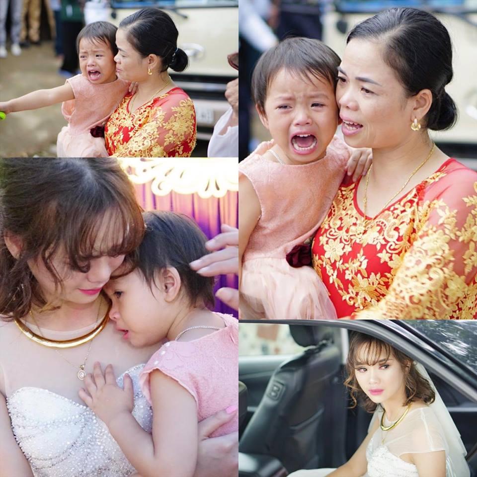 Hình ảnh cô em gái 3 tuổi khóc nức nở ngày chị lấy chồng khiến nhiều người rơi nước mắt.