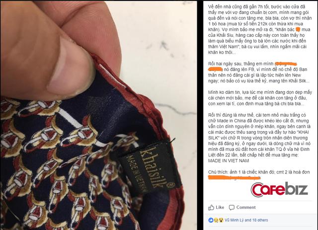 """Thêm người tiêu dùng tố khăn lụa Khaisilk gắn mác Made in Vietnam, nhưng đã khéo cắt đi mác """"Made in China"""", vì sao doanh nhân Hoàng Khải vẫn im lặng? - Ảnh 1."""