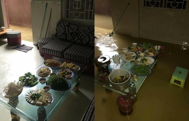 Bi hài ngày mưa lũ: Đang ăn cơm thì nước tràn ngập mâm, một nhà có điện cả làng được nhờ sạc điện thoại - Ảnh 1.