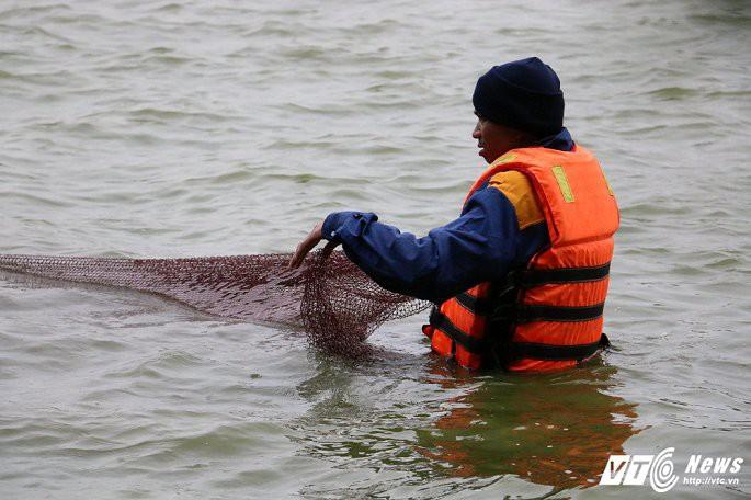 Ảnh: Công nhân ngâm mình trong nước lạnh dồn cá trước khi nạo vét Hồ Gươm - Ảnh 6.