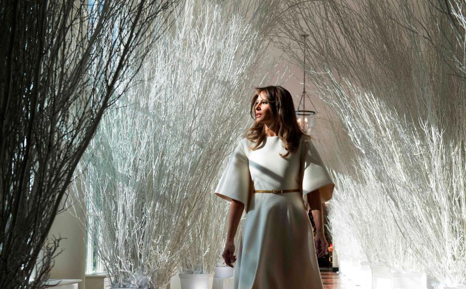Bà Melania Trump mặc váy trắng đẹp như thiên thần tuyết, chuẩn bị cho Giáng sinh tại Nhà Trắng - Ảnh 1.