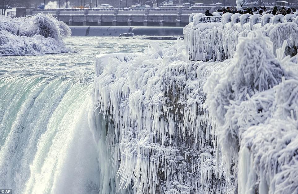Cảnh tượng đáng sợ nhưng cũng hiếm gặp: Thác nước hùng vĩ bậc nhất nước Mỹ đóng băng dưới thời tiết giá lạnh - Ảnh 2.