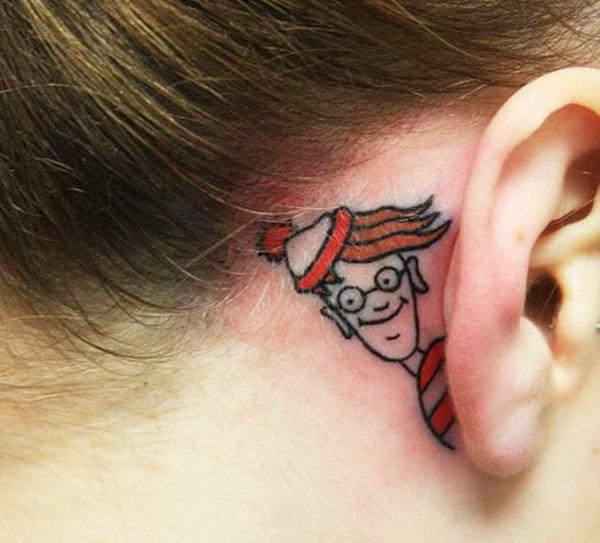 16 mẫu hình xăm nhỏ xinh trên tai dành cho các bạn gái - Ảnh 7.