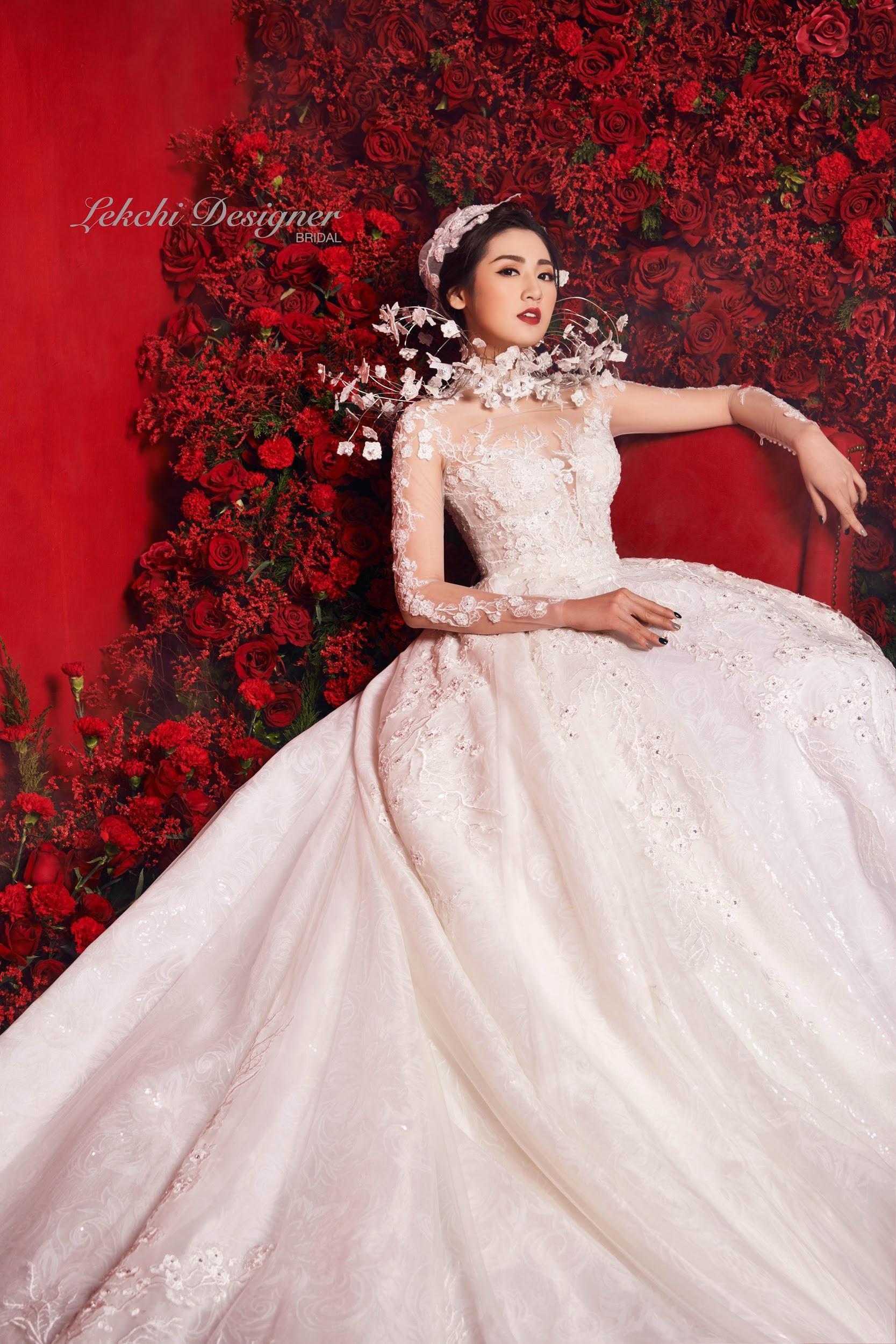 Á hậu Tú Anh hoá công chúa tuyết trong mẫu váy cưới gắn kim cương cực lộng lẫy của NTK Lek Chi - Ảnh 6.