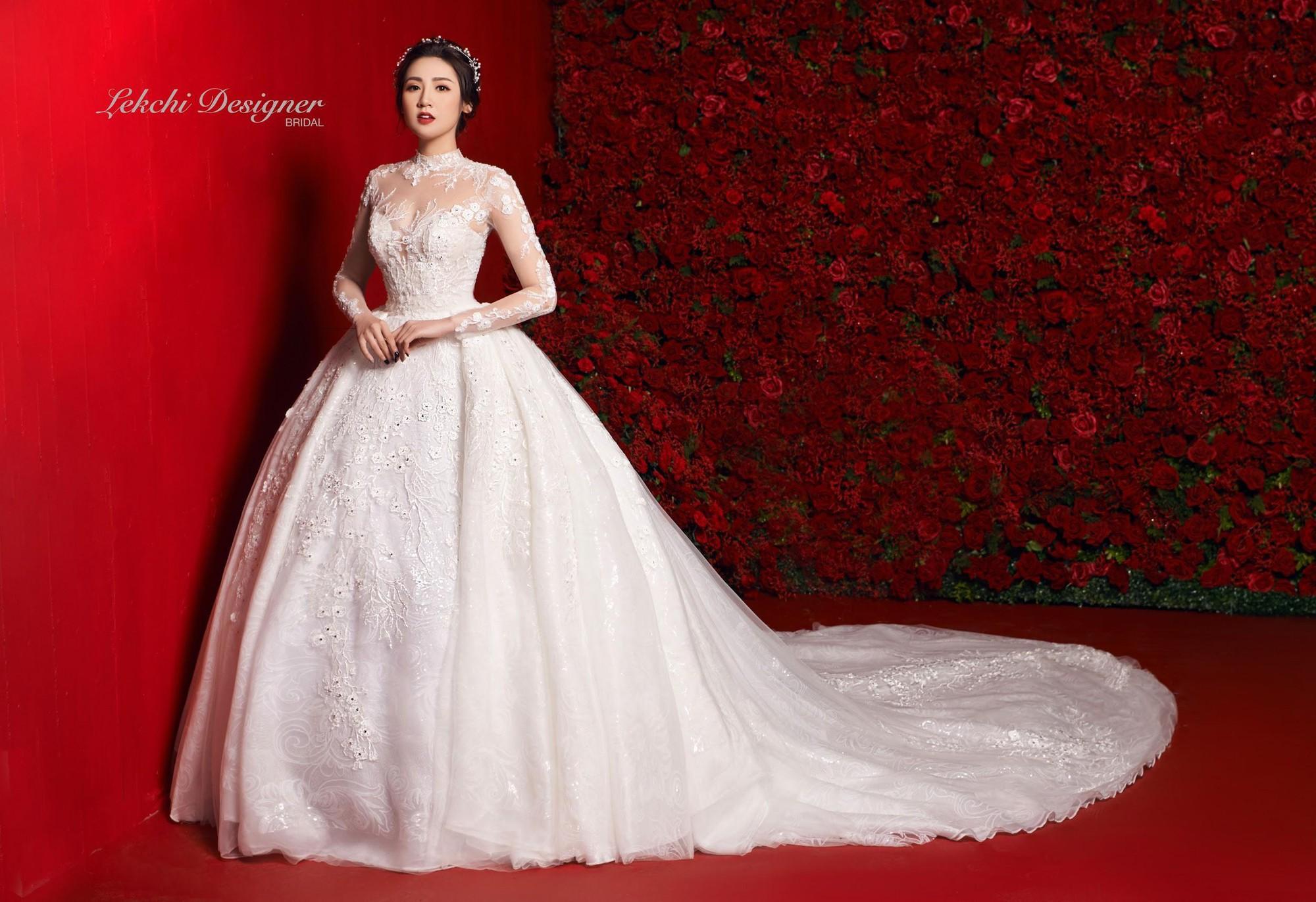 Á hậu Tú Anh hoá công chúa tuyết trong mẫu váy cưới gắn kim cương cực lộng lẫy của NTK Lek Chi - Ảnh 8.