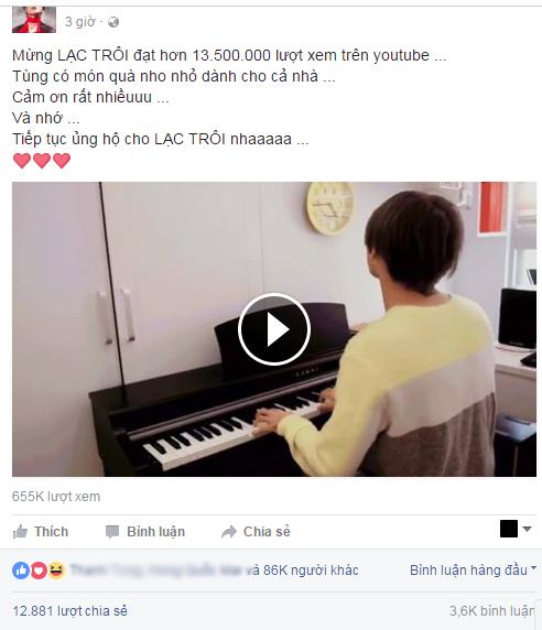 Sơn Tùng M-TP vừa đánh đàn vừa hát Lạc Trôi tặng fan mừng MV đạt 13 triệu 500 nghìn lượt xem - Ảnh 3.