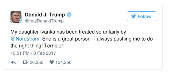 Ông Trump công kích trung tâm thương mại cao cấp vì để thương hiệu của con gái bị out - Ảnh 1.