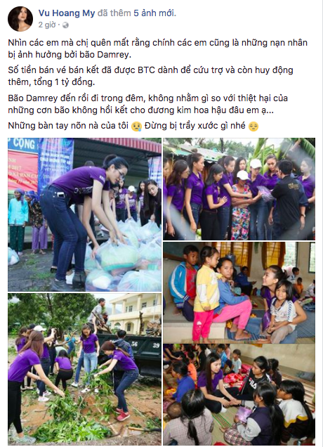 Xuất hiện phát biểu gây sốc so sánh bão số 12 và Hoa hậu Hoàn vũ Việt Nam trên Facebook Á hậu Hoàng My - Ảnh 1.