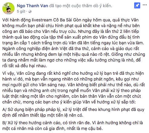 """Ngô Thanh Vân """"trưng cầu dân ý"""" cách xử lý người livestream lén Cô Ba Sài Gòn - Ảnh 2."""