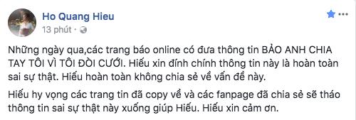 Hồ Quang Hiếu: Thông tin Bảo Anh chia tay vì tôi đòi cưới là hoàn toàn sai sự thật - Ảnh 1.