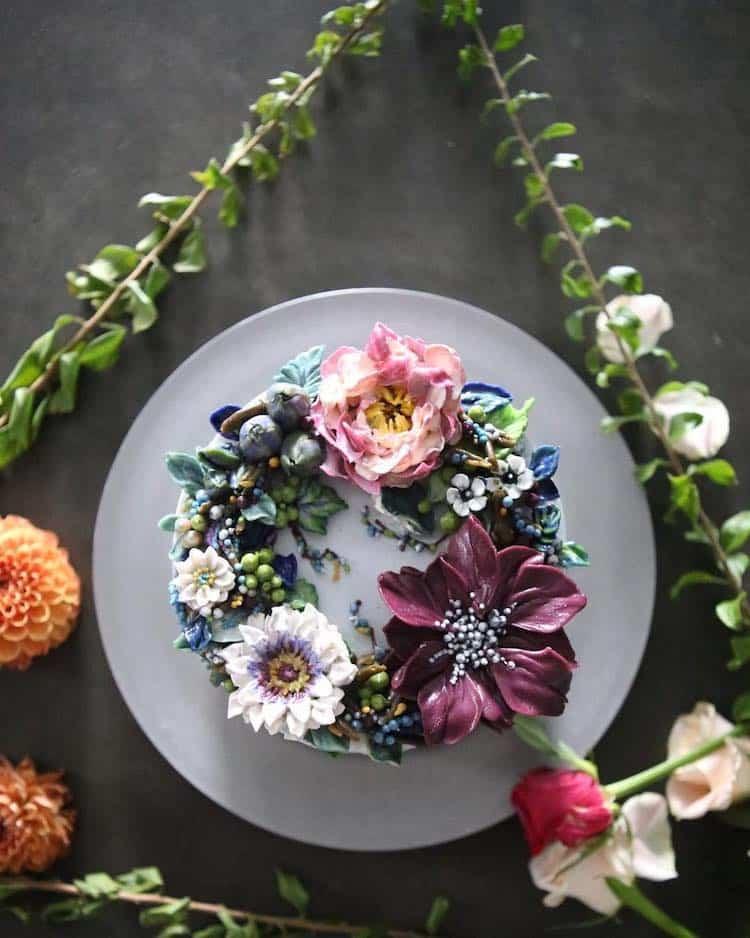 Bộ sưu tập bánh cưới hoa cỏ đẹp như thật của đầu bếp Hàn Quốc - Ảnh 15.