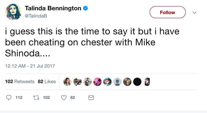 Twitter của vợ Chester (Linkin Park) thừa nhận ngoại tình với Mike Shinoda trong Linkin Park - Ảnh 2.