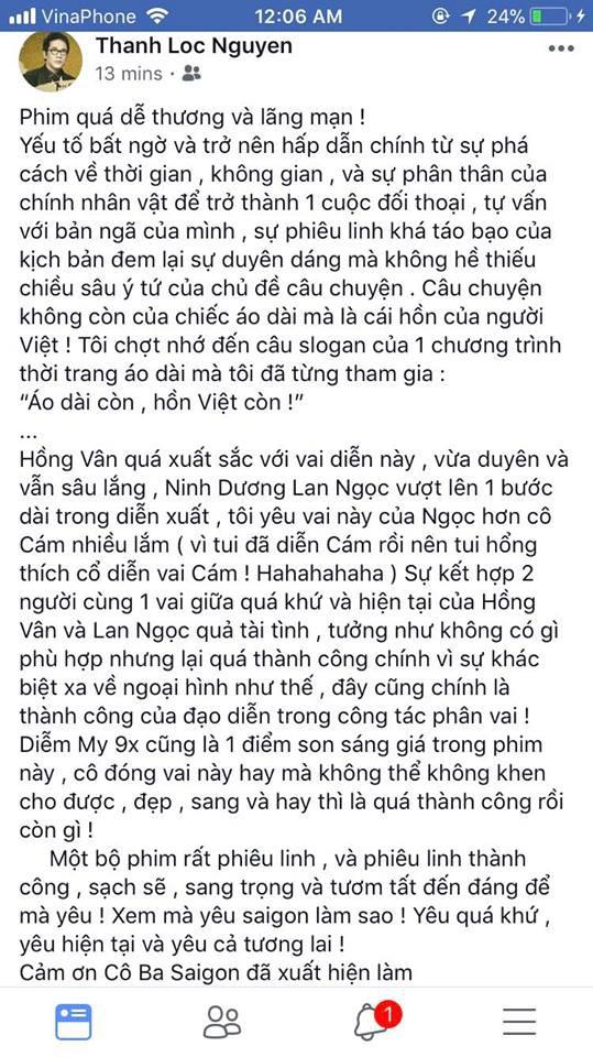 Tăng Thanh Hà, Lương Mạnh Hải và nhiều sao Việt đồng loạt khen ngợi Cô Ba Sài Gòn hết lời - Ảnh 9.