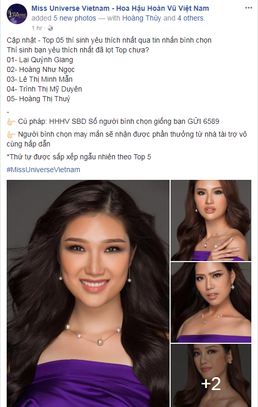 Mâu Thủy tiếp tục mất hút trong top 5 bình chọn của Hoa hậu Hoàn vũ Việt Nam - Ảnh 1.