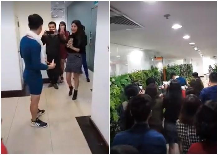 Người Việt Nam nói là làm: Người đàn ông mặc váy của vợ đi làm cả ngày sau khi U23 Việt Nam thắng trận bán kết - Ảnh 3.