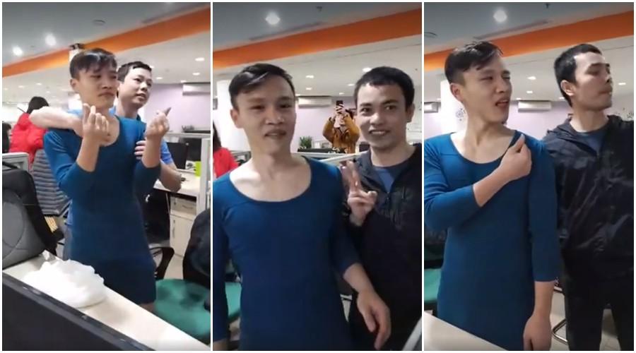 Người Việt Nam nói là làm: Người đàn ông mặc váy của vợ đi làm cả ngày sau khi U23 Việt Nam thắng trận bán kết - Ảnh 4.