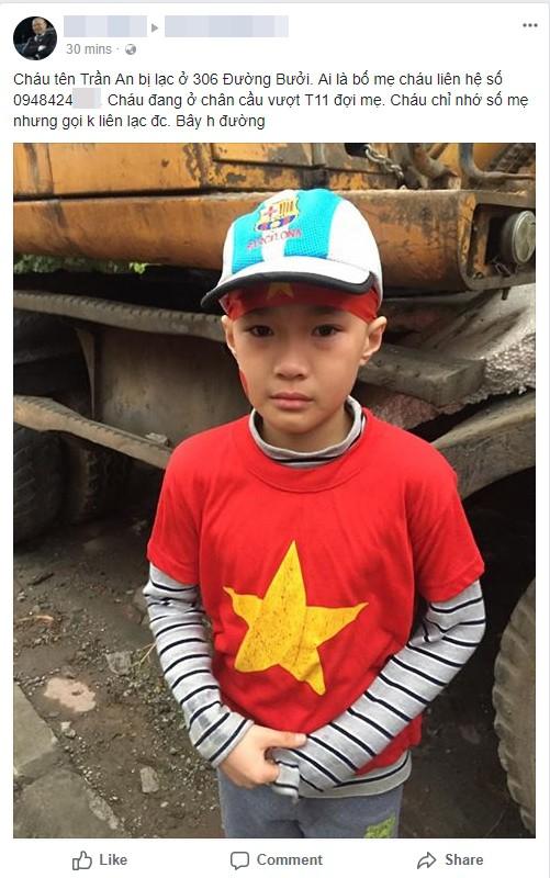 Cộng đồng mạng chung tay tìm kiếm cha mẹ cho bé trai bị lạc khi cùng bố mẹ đi đón đội tuyển U23 Việt Nam - Ảnh 1.