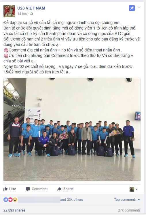 Cảnh giác: Thông tin BTC tặng 2 triệu tờ ảnh lịch có hình tập thể U23 Việt Nam kèm chữ ký của các cầu thủ là giả mạo - Ảnh 1.