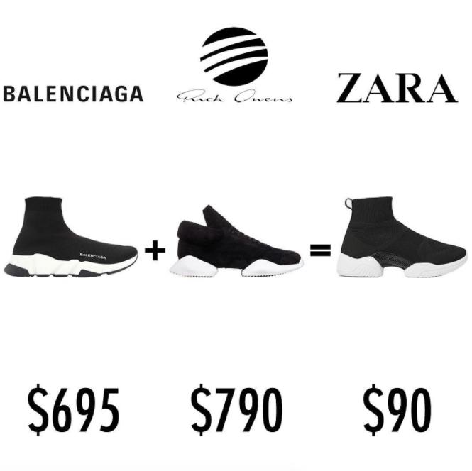 Mẫu sneakers mới nhất của Zara lại vướng nghi án đạo nhái Balenciaga và Rick Owens - Ảnh 3.