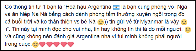 Chỉ bằng một hành động, Phương Nga khéo léo dập tắt tin đồn mâu thuẫn với đại diện Argentina tại Miss Grand International 2018 - Ảnh 1.