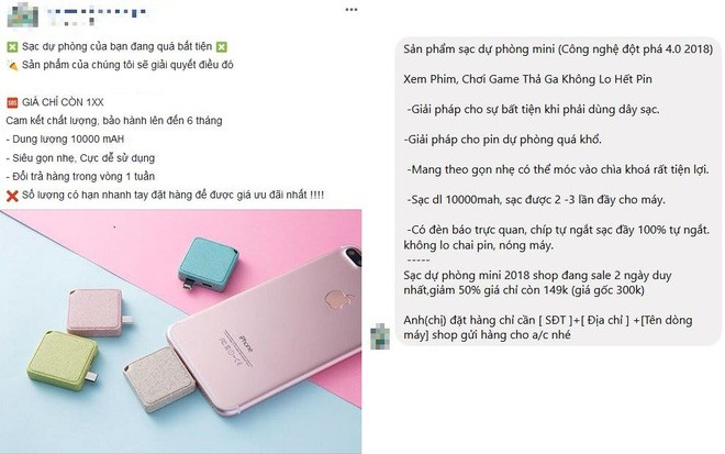 """Mắc phải """"cú lừa"""" khi mua pin dự phòng trên Facebook: Shop mô tả 10.000 mAh, nhận về cục pin 1.000 mAh - Ảnh 1."""