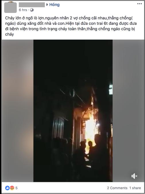 Mâu thuẫn với vợ, gã đàn ông châm lửa đốt nhà khiến bé trai 6 tuổi bỏng nặng - Ảnh 1.