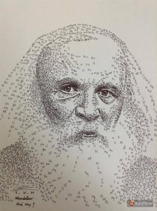 Góc khó tin: Loạt tranh siêu chất về các nhà bác học được 1 nam sinh Hải Dương vẽ bằng... công thức Hóa học và Vật Lý! - Ảnh 2.