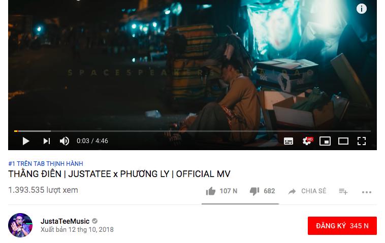 Thằng điên của Justatee và Phương Ly đạt 1 triệu view sau 12h ngắn ngủi - Điều gì làm nên sức hút cho MV này? - Ảnh 2.