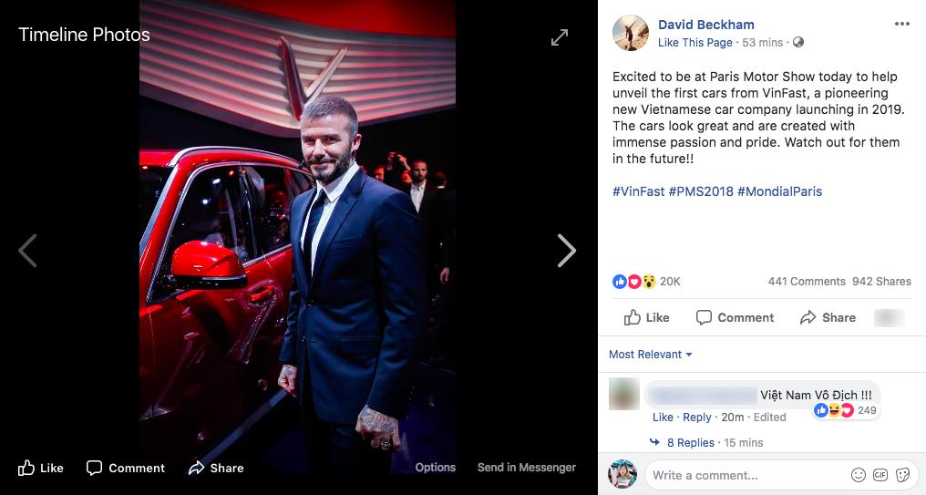 Trở về từ sự kiện ra mắt tầm cỡ của VinFast, David Beckham đăng tải dòng trạng thái khiến dân tình dậy sóng - Ảnh 1.