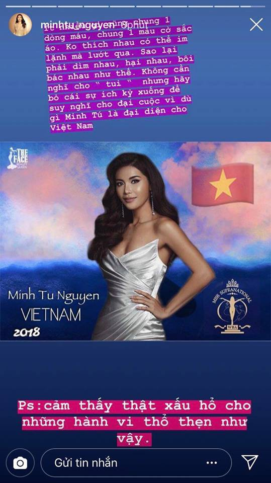 Minh Tú bức xúc lên tiếng khi bị antifan bêu rếu, nói xấu trên fanpage chính thức của Miss Supranational - Ảnh 1.