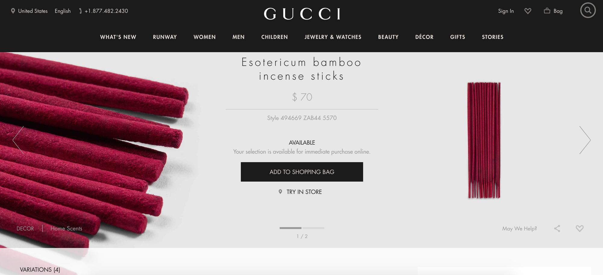 Gucci bán que hương, phục vụ tín đồ hàng hiệu vừa mặc vừa được thở