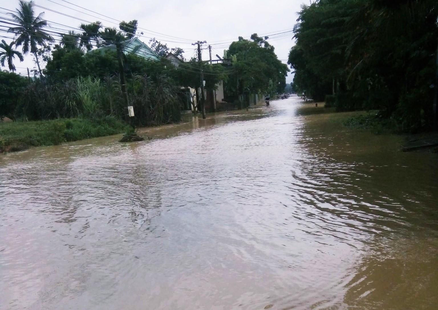 Bình Định: Mưa lớn 2 ngày liên tục khiến nước lũ lên nhanh, nhiều nhà dân bị cô lập - Ảnh 1.