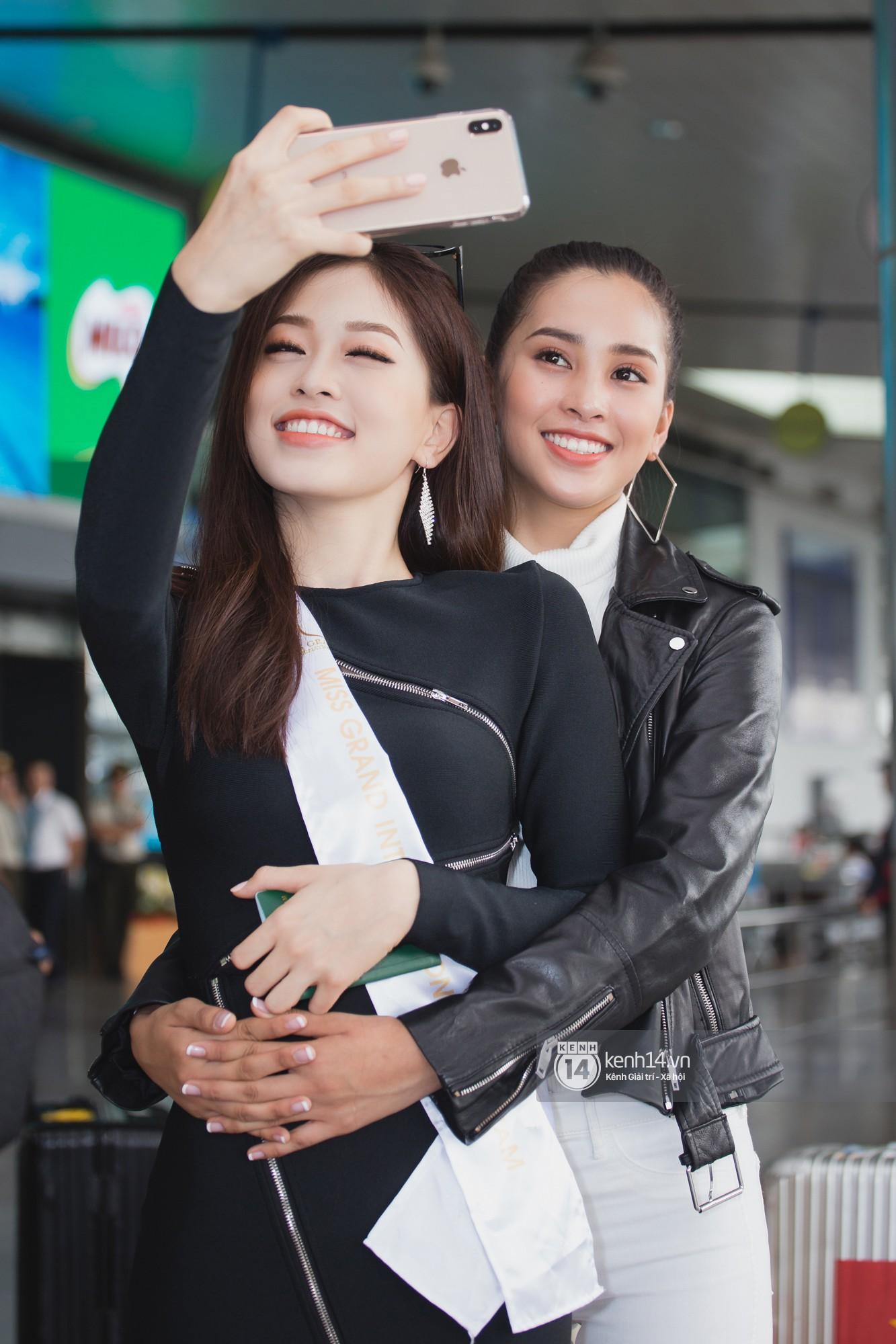 Trần Tiểu Vy ở lại sân bay tiễn Bùi Phương Nga đi thi Hoa hậu quốc tế - Ảnh 11.