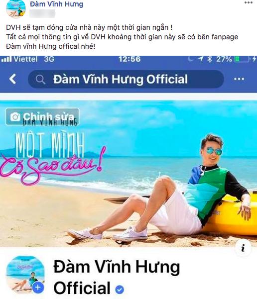 Sau lời xin lỗi vì những sự cố trong tiệc sinh nhật, Đàm Vĩnh Hưng tuyên bố tạm đóng cửa Facebook cá nhân - Ảnh 1.