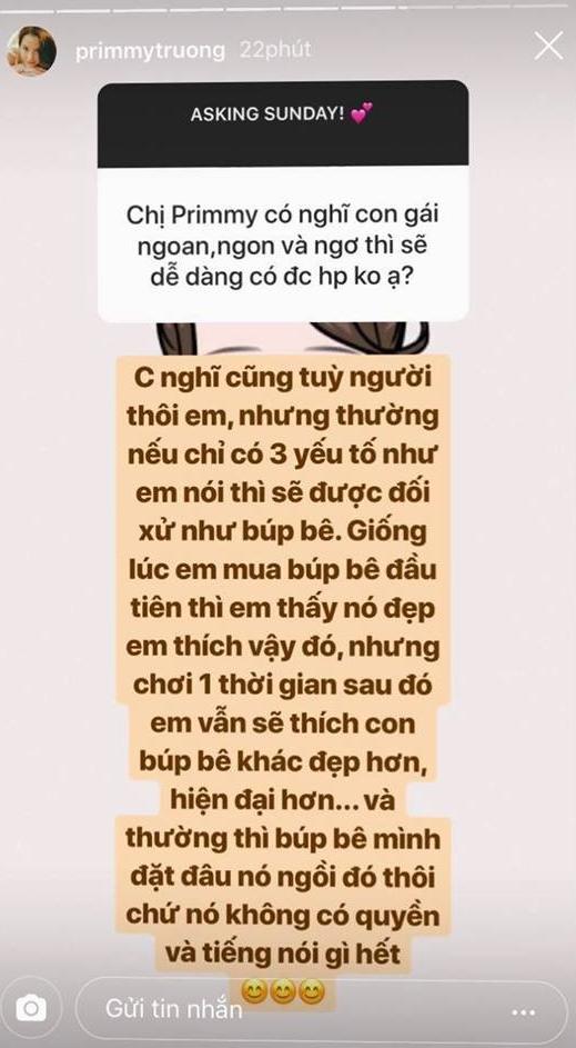 Primmy Trương trả lời câu hỏi trên Instagram: Con gái ngoan, ngon và ngơ có được hạnh phúc không? - Ảnh 1.