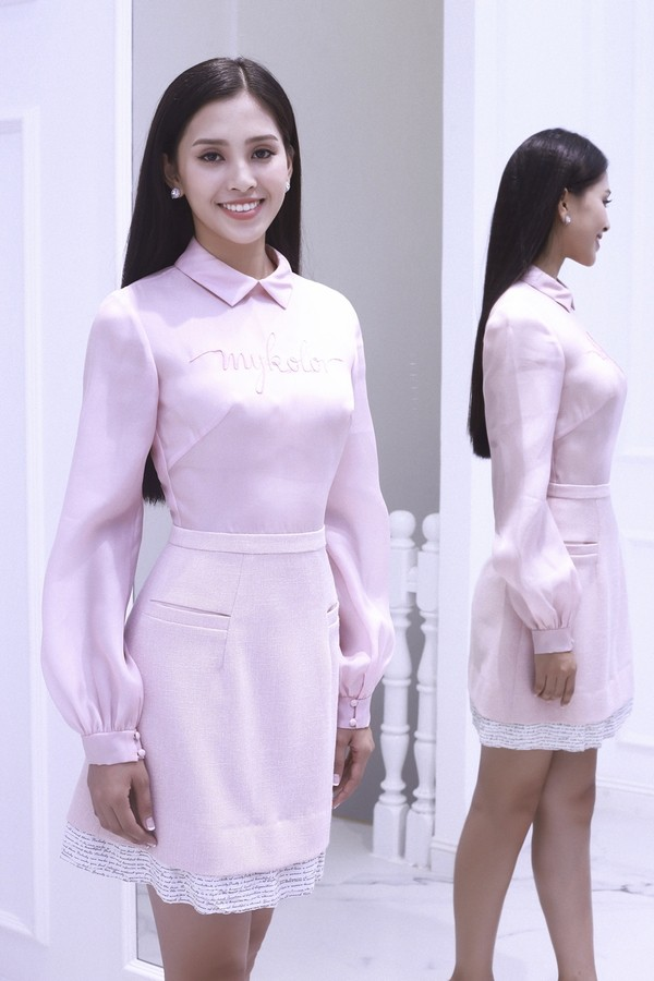 Người ta diện màu hồng dễ sến, riêng HH Tiểu Vy thì nhan sắc lại càng thăng hoa với gam màu khó chiều này - Ảnh 10.