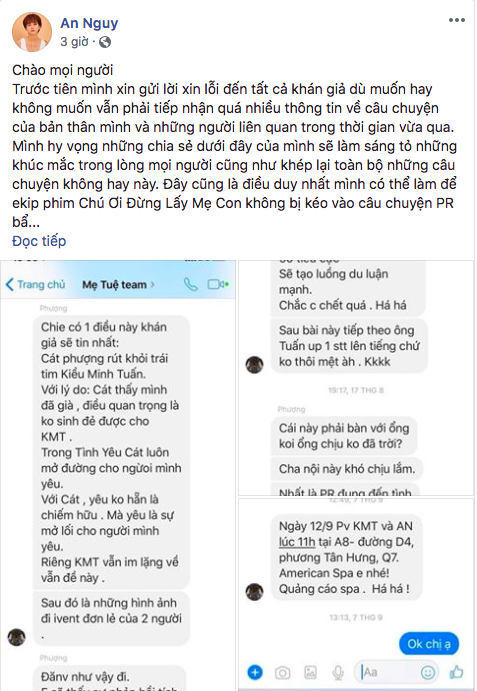 Facebook Kiều Minh Tuấn mất tích sau khi An Nguy tố Cát Phượng lợi dụng tình cảm để PR - Ảnh 1.