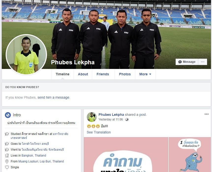 Facebook của trọng tài Phubes Lekpha.