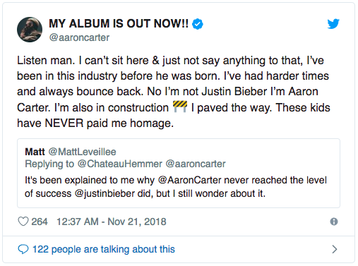 Justin Bieber answers when Aaron Carter is sarcastic: Thanks to him that he is the same as today - Monday 1.