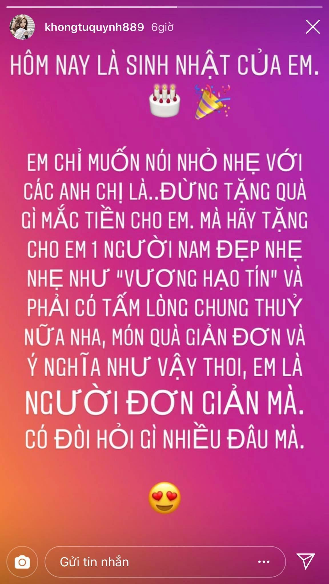 Khổng Tú Quỳnh chia sẻ khiến dân tình tin cô đã chia tay Ngô Kiến Huy - Ảnh 1.