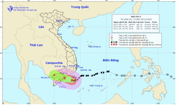 Cập nhật: Bão số 9 giật cấp 12 cách đất liền 140km, Sài Gòn dự báo mưa rất to và lốc xoáy - Ảnh 1.