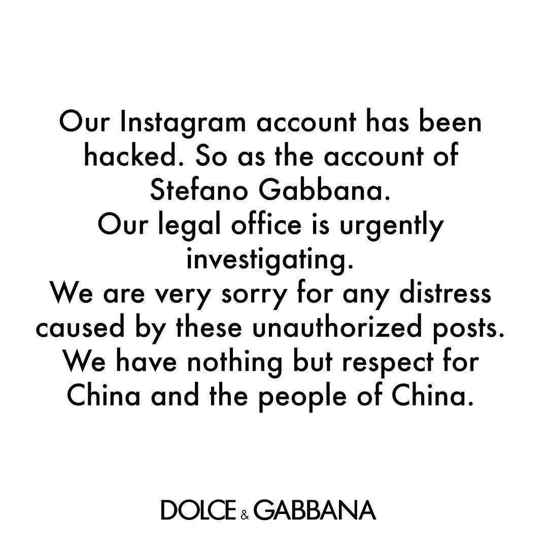 Dolce & Gabbana viện cớ bị hack Instagram để cãi cố, cuối cùng lại