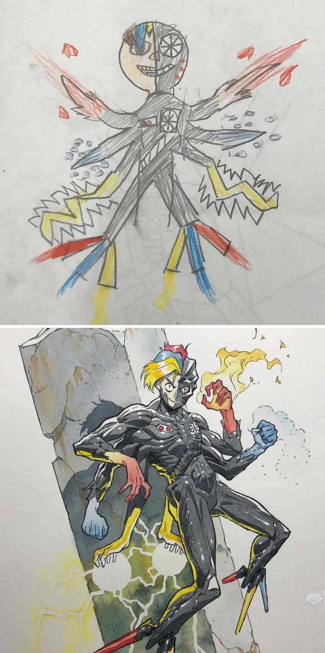 Lấy cảm hứng từ tranh vẽ bậy của con, ông bố vẽ nên những siêu