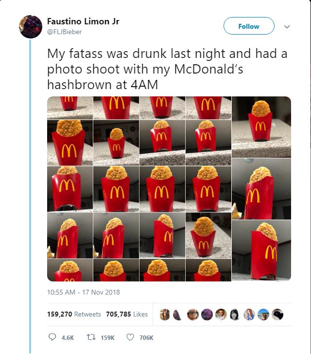 Thanh niên Mỹ trở thành ngôi sao Twitter sau khi say xỉn rồi chụp ảnh bánh khoai tây của McDonalds lúc 4h sáng - Ảnh 1.