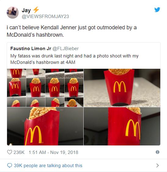 Thanh niên Mỹ trở thành ngôi sao Twitter sau khi say xỉn rồi chụp ảnh bánh khoai tây của McDonalds lúc 4h sáng - Ảnh 4.